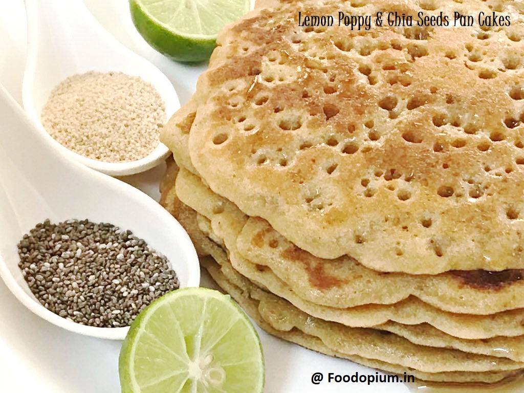 Lemon Poppy & Chia Seeds Pan Cakes (Eggless)