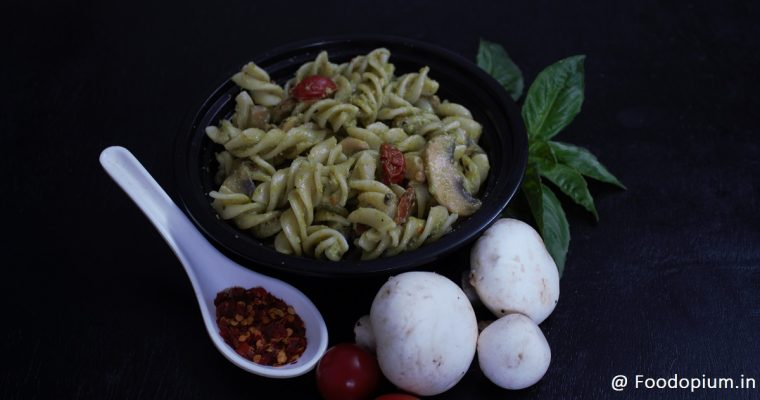 Easy Mushroom Cherry Tomatoes Basil Pesto Pasta