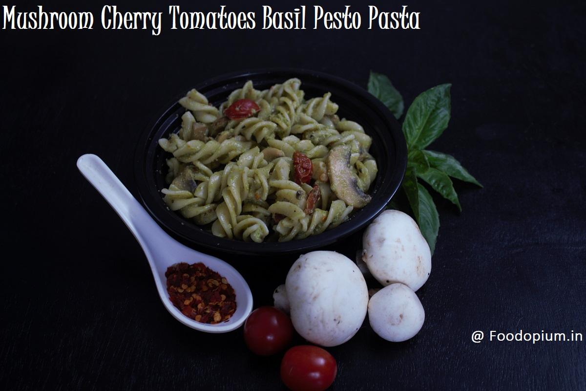 Easy Mushroom Cherry Tomatoes Basil Pesto Pasta