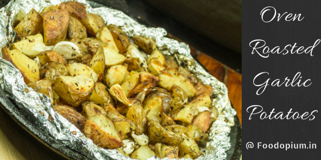 Oven Roasted Garlic Potatoes Banner
