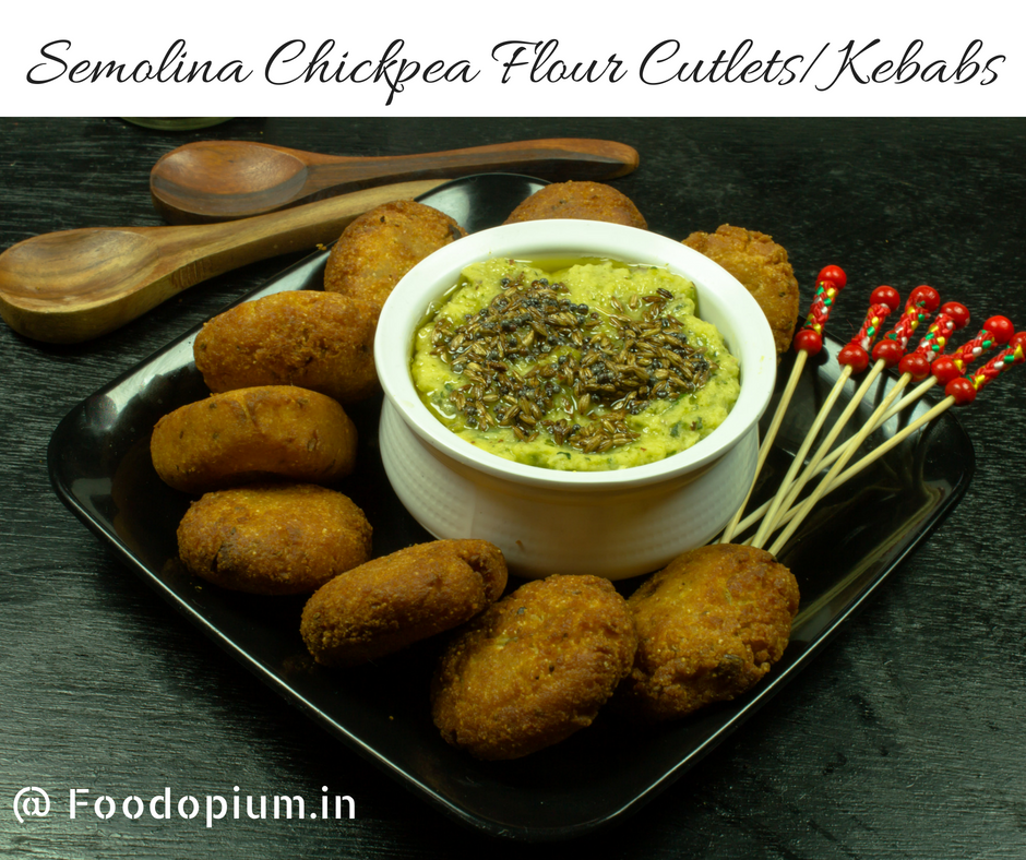 Semolina Chickpea Flour Cutlets With Green Mango Chutney