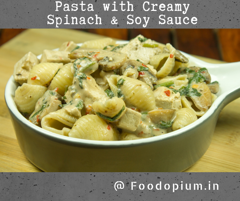 Pasta With Creamy Spinach & Soy Sauce